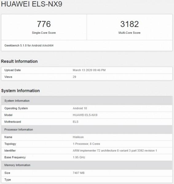 Huawei P40 Pro 5G результат теста Geekbench