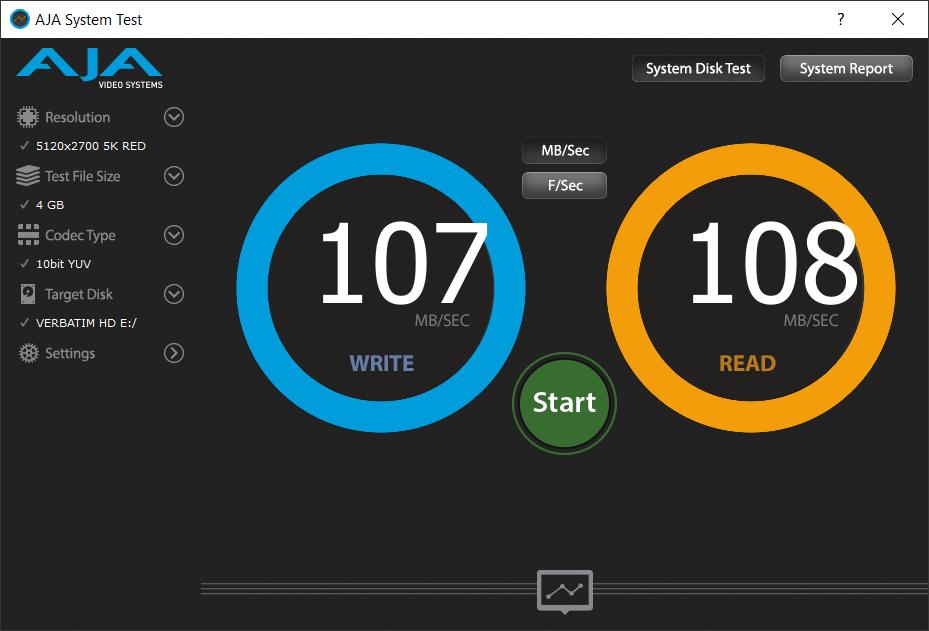 Тест скорости Verbatim Store 'n' Go USB 3.0 500 ГБ AJA System Test
