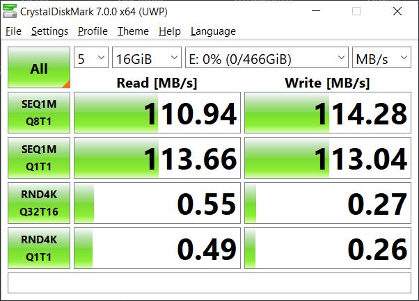 Тест скорости Verbatim Store 'n' Go USB 3.0 500 ГБ CrystalDiskMark 7