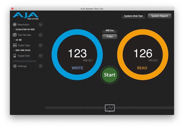 Тест скорости WD_BLACK P10 Game Drive 2Tb AJA System Test Lite